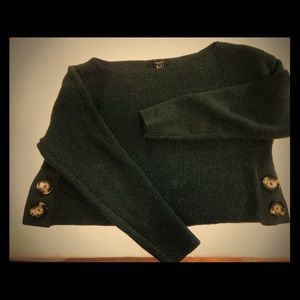 Forever 21 cropped sweater with button detail